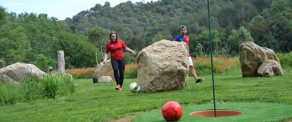 playing footgolf